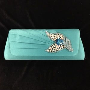 Turquoise Evening Clutch with Rhinestone Detail